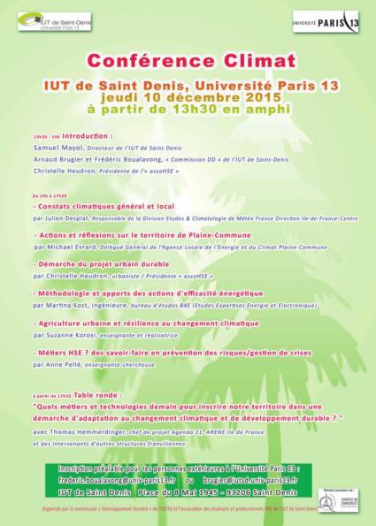 Programme Conference Climat COP21 IUT St Denis